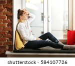portrait of young woman... | Shutterstock . vector #584107726