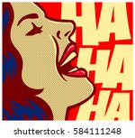 pop art style comic book woman... | Shutterstock .eps vector #584111248