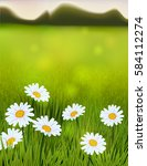 spring landscape with daisy... | Shutterstock .eps vector #584112274