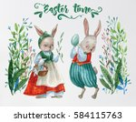 easter bunnies and easter eggs. ... | Shutterstock . vector #584115763