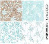 seamless flowers pattern | Shutterstock .eps vector #584116210