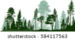 Stock vector illustration with high pines in fir trees forest isolated on white background 584117563
