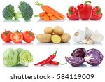 vegetables tomatoes lettuce... | Shutterstock . vector #584119009
