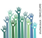 green blue colorful caring up...   Shutterstock . vector #584121490