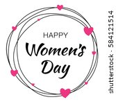 happy womens day hand drawn... | Shutterstock . vector #584121514