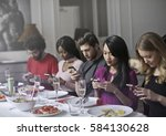 distracted by technology | Shutterstock . vector #584130628