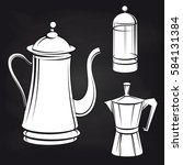 coffee pot stickers on... | Shutterstock .eps vector #584131384