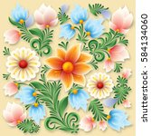 abstract spring floral ornament ... | Shutterstock .eps vector #584134060