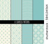 set of eight different... | Shutterstock .eps vector #584134564