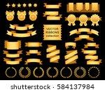 vector ribbon set. banner...   Shutterstock .eps vector #584137984