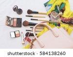 beauty skin face set cosmetic... | Shutterstock . vector #584138260