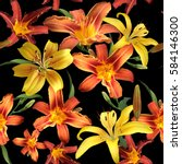 blossom floral pattern lilies... | Shutterstock . vector #584146300