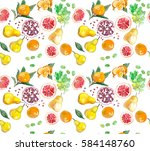 watercolor painting  fruit | Shutterstock . vector #584148760