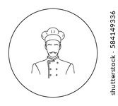 restaurant chef icon in outline ... | Shutterstock .eps vector #584149336