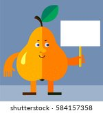 pear holding a blank sign. flat ... | Shutterstock .eps vector #584157358