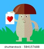 brown mushroom with heart icon. ... | Shutterstock .eps vector #584157688