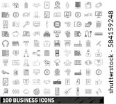 100 business icons set. thin... | Shutterstock .eps vector #584159248
