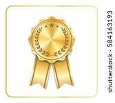 award ribbon gold icon. blank... | Shutterstock .eps vector #584163193