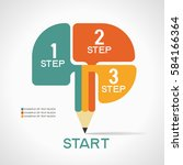 infographic template with steps ... | Shutterstock .eps vector #584166364