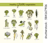 set of green healthy vegetables ... | Shutterstock .eps vector #584167906