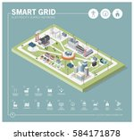 smart grid network  power... | Shutterstock .eps vector #584171878