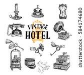 vector hand drawn illustration... | Shutterstock .eps vector #584174680