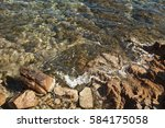 crystal blue water and stone... | Shutterstock . vector #584175058