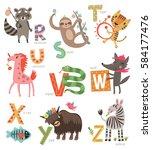 zoo alphabet for children. set... | Shutterstock .eps vector #584177476