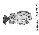 sea fish icon in monochrome... | Shutterstock .eps vector #584177503