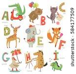 zoo alphabet for children. set... | Shutterstock .eps vector #584177509