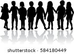 vector silhouette of children... | Shutterstock .eps vector #584180449