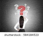 rear view of of a businesswoman ... | Shutterstock . vector #584184523