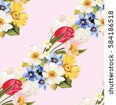 seamless floral pattern white... | Shutterstock .eps vector #584186518
