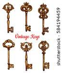 vintage keys of brass vector... | Shutterstock .eps vector #584194459