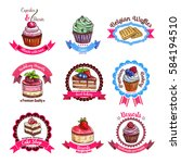 cakes and dessert biscuits...   Shutterstock .eps vector #584194510