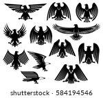 heraldic eagle icons set of... | Shutterstock .eps vector #584194546
