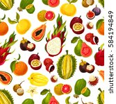 exotic fruits seamless pattern... | Shutterstock .eps vector #584194849