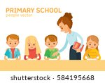 teacher and pupils in school... | Shutterstock .eps vector #584195668