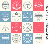 set of badges and logos cycling.... | Shutterstock . vector #584195758