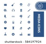 media icon set clean vector | Shutterstock .eps vector #584197924