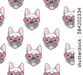 bulldog pattern   vector... | Shutterstock .eps vector #584202334
