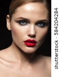 red lips. model. beauty   Shutterstock . vector #584204284