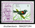 "Small photo of MOSCOW, RUSSIA - FEBRUARY 19, 2017: A stamp printed in Cuba, shows a Bird Agelaius assimilis, the series ""The 90th Anniversary of the Death of Juan C. Gundlach"", circa 1986"