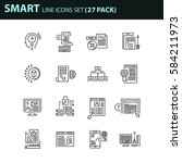 set of thin line business icons.... | Shutterstock .eps vector #584211973