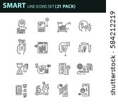 set of thin line business icons.... | Shutterstock .eps vector #584212219
