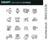 set of thin line business icons.... | Shutterstock .eps vector #584212228