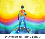 human and universe power ... | Shutterstock . vector #584215810