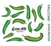 cartoon chile pepper. ripe... | Shutterstock . vector #584217064