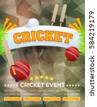 cricket event poster background ... | Shutterstock .eps vector #584219179