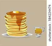 pancake with honey vector  | Shutterstock .eps vector #584224474